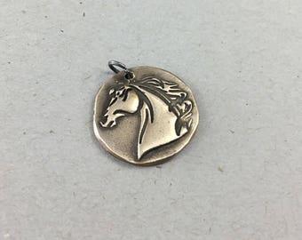 Horse Head Pendant / Solid  Bronze / Handmade Horse Pendant