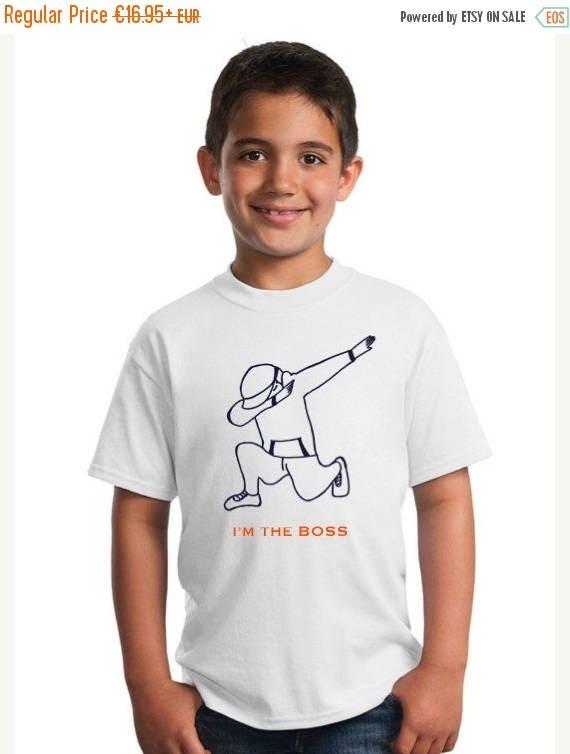 REBAJADO Boy t-shirt DAB in navy and orange