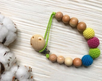 simple organic baby pacifier clip / Dummy holder / Beads are safe for teething