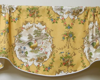 P. Kaufmann County Fair - Yellow Rooster Toile Window Valance / Corded and Lined, Rod Pocket Scalloped Valance / French Country / Cotton