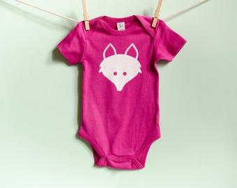 Organic Cotton Fox Onesie in Pink with White / 3-6 Months