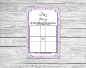 Purple and Silver Baby Shower Baby Bingo Game - Printable Baby Shower Baby Bingo Game - Purple Silver Baby Shower - Baby Bingo Game - SP153