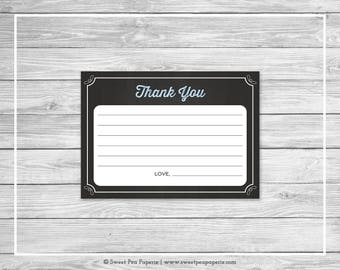 Chalkboard Baby Shower Thank You Cards - Printable Baby Shower Thank You Cards - Blue Chalkboard Baby Shower - Thank You Cards - SP156