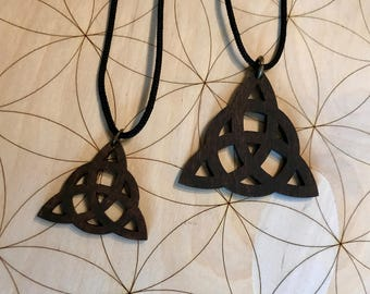 Triquetra Wooden Pendant - Small and Large - Natural Birch Stained Dark