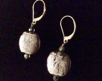 Fused Glass Drop Earrings in Sterling Silver