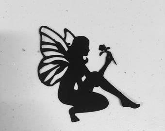 Set of 6- Fairies silhouette// cupcake toppers // fairy scrapbook and card cutouts// fairy die cuts