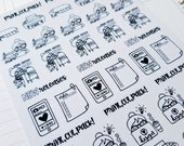 Cora - Shop Owner | mid size monochrome character / action | Planner stickers