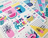 Summer Vibes | Vertical weekly kit | Planner stickers for Erin Condren/ Happy Planner/ A5/ Personal etc Planners