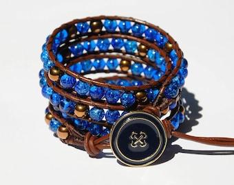 Birthday gift Leather cord Bracelet Wrap Bracelet Glass Beads Bracelet Beaded Bracelet Leather Bracelet Coworker Gift Ideas Handmade Jewelry