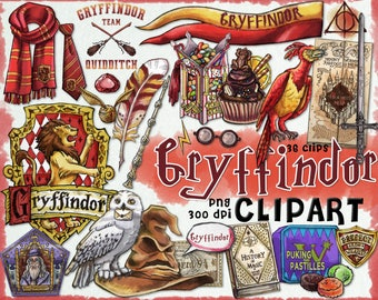 Gryffindor clipart, Harry Potter clipart, Harry potter party, Hogwarts house, printable, planner stickers, Dumbledore, scrapbook, journal