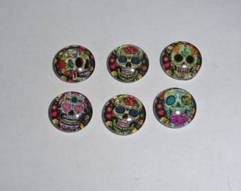sets of 6 round glass cabochons
