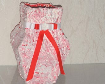 Handmade red and white vase.