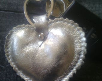 Shiny Gold leather key ring, ring also heart