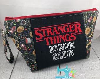 Stranger Things Binge Club Zipper Bag - Knitting Project Bag - Crochet Bag