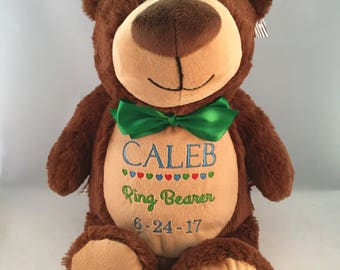 Ring bearer gift, Personalized stuffed animal, Personalized wedding gift, Gift for ring bearer, Ring bearer thank you gift, Embroidered gift