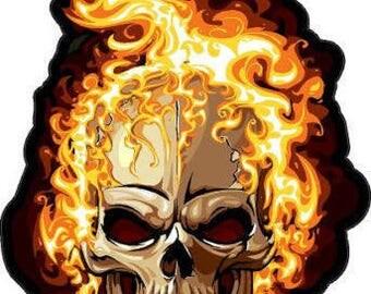 "4.5"" Custom Flaming Skull Decal Motorcycle Sticker Vinyl Black #251"