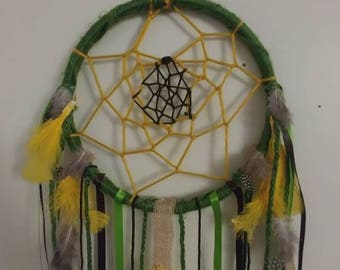Sunflower dream catcher with burlap and ribbon