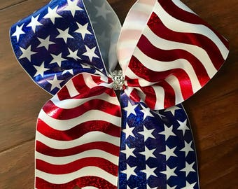 American Flag Patriotic Cheer Bow--Fourth of July Cheer Bow--Memorial Day Cheer Bow--Patriotic Cheer Bow--Softball Cheer Bow