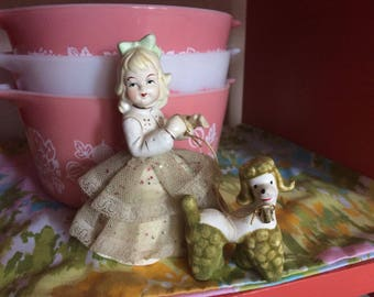 Ceramic Girl with Poodle on Leash