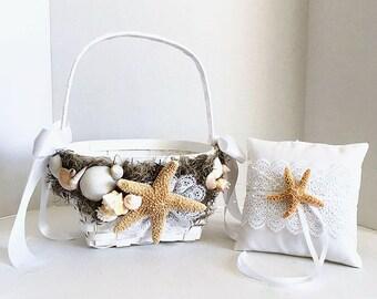 Beach Flower Girl Basket Ring Bearer Pillow Florida SeaShell Starfish Beach Wedding, Lace Starfish Ring Pillow, Beach Destination Wedding