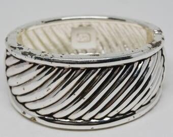 Simple silver tone cuff bracelet