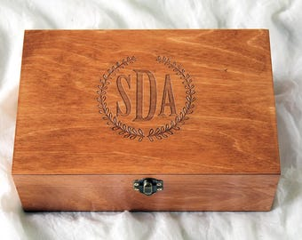 Wooden box etsy for Jewelry box with initials