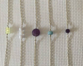 Amethyst natural stone, Jade, Aquamarine Bracelet