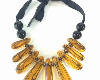 Dragonfly - Amber & Black Statement Necklace