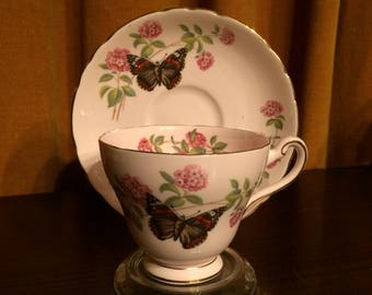 June Glory, cup and saucer, Butterfly, flowers, fine bone china, England, Tuscan, gilt edge