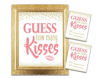Bridal Shower How Many Kisses Game - Coral and Gold - Instant Printable Digital Download -diy Bridal Shower Printables Gold Glitter Confetti