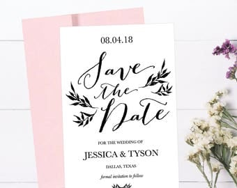 Printable Wedding Save The Date Cards Editable Template, Rustic Destination Modern Floral PDF DIY Save-The-Date Invitation Instant Download,
