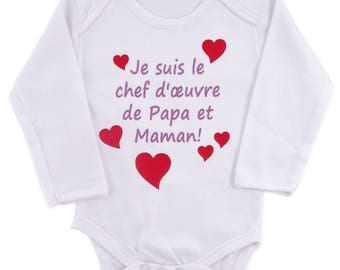"Bodysuit baby girl funny ""I'm the masterpiece of MOM and Dad"""