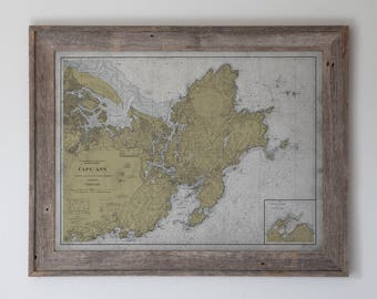 Cape Ann Map : Vintage Early 20th C. Nautical Map of Cape Ann, Massachusetts - Weathered Map