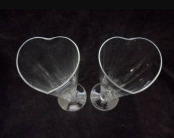Crate and Barrel Krosno Valentine Heart Champagne Wedding Flutes Poland (Set of 2)