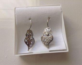 Heart Filigree Hook Earrings Portuguese Sterling Silver