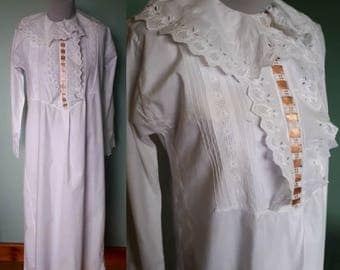 Victorian era nightgown long white cotton with frilly cuffs and collar. Medium to large size. Long sleeved, antique vintage nightwear robe