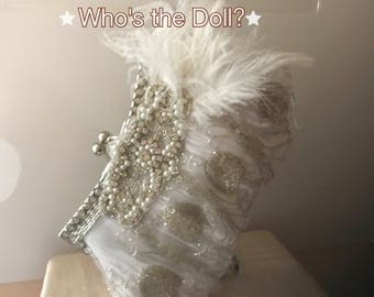 Flapper bag/Gatsby Bag/1920s clutch bag/evening bag/Wedding clutch/Ostrich bag/beaded bag/Formal bag/wedding purse/1920s accessories
