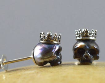 Carved Pearl Skulls Wearing Sterling Silver Crowns with Sterling Silver Backs - Gift - Pearl Earrings  - Unique - Valentine's Jewelry