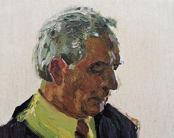 Sale 30%! VINTAGE MALE PORTRAIT, Original Oil Painting by Soviet Ukrainian artist A.Solodovnikov 1970s, Portrait of a man, Socialist Realism