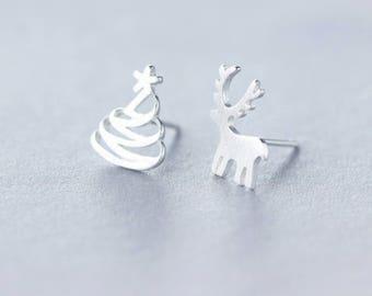Cute 925 Sterling Silver Reindeer and Christmas Tree Winter Christmas Earrings