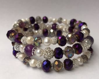 Purple Crystals Pearls bracelets, Silver Crystal bracelets, memory wire bracelet, Gifts for her, handmade jewelry, Pearl bracelet, Bridemade