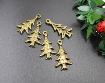 10Pcs 26x14mm Bronze Christmas Tree Charms-p1208-A