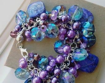CLEARANCE Purple Bracelet Cluster Bead Bracelet Lavender Bracelet Pearl Cluster Bracelet Bridesmaid Gift Purple Wedding Jewelry Gift