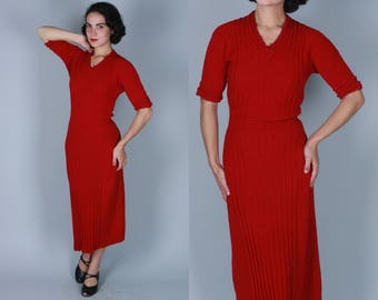 Vintage 1940s Dress   40s 50s Bright Red Knit Dress with Ribbed Detail & Belts   Medium