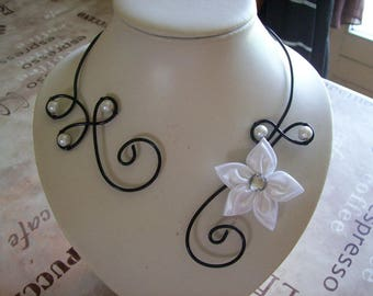 Bridal necklace wedding party holiday flower black aluminum wire white ceremony satin bridesmaid