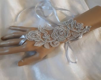pair of fingerless gloves light silver gray lace bridal wedding ceremony satin bracelet