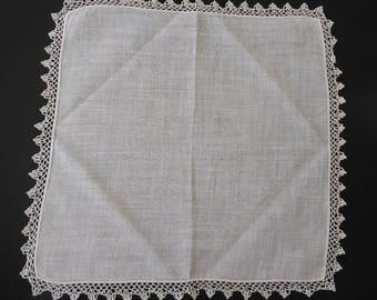 Vintage linen handkerchief with crochet edge #112