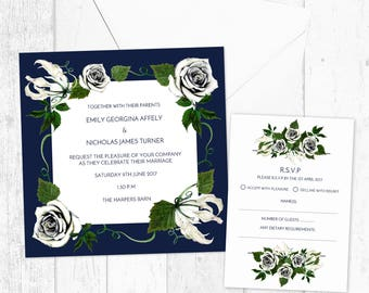 Fresh Navy Green White Square Garden Wedding Invitations and RSVP Card - Personalised Printed and Digital Printable - Navy Blue Floral