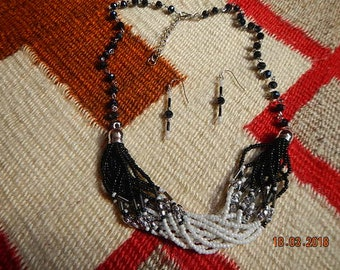 Black/White/Silver Glass-beaded Necklace Matching Earrings