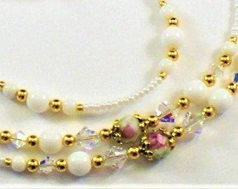 Beaded Eyeglass Chain/Holder-White & Pink Roses~ Swarovski ~ Gold